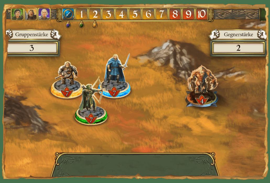 Spielerfiguren stehen einem Gorn auf dem Spielfeld gegenüber
